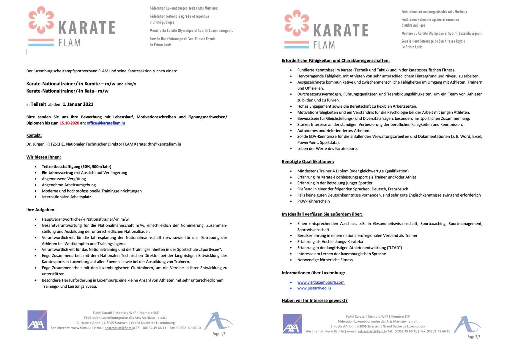 Stellenausschreibung - Karate-Nationaltrainer/-in Kumite – m/w und eine/n Karate-Nationaltrainer/-in Kata– m/w