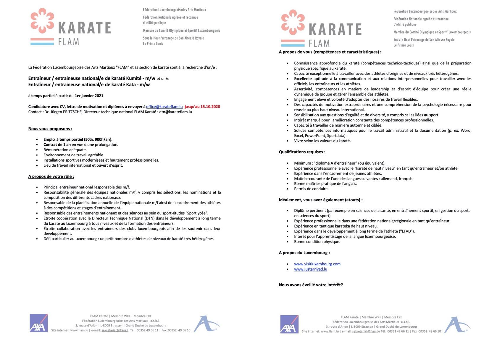 Recherche - Entraîneur / entraineuse national/e de karaté Kumité - m/w et un/e Entraîneur / entraineuse national/e de karaté Kata - m/w