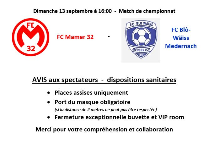 FC Mamer 32  -  Blô-Wäiss Medernach le 13 septembre 2020 à 16:00  AVIS