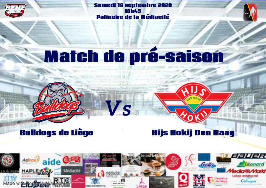 1er match de pré-saison pour les Bulldogs de Liège face à La Haye le samedi 19 septembre