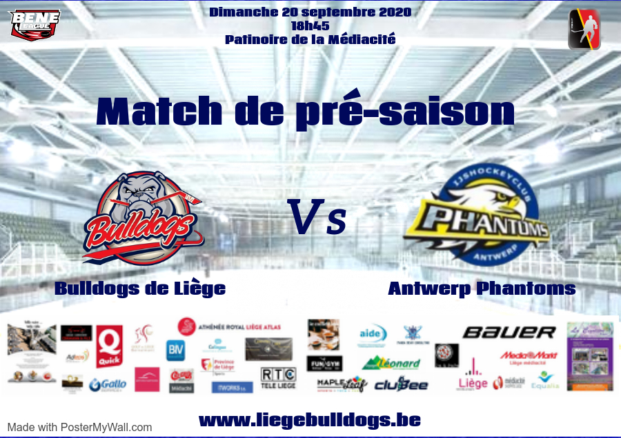 2ème match de pré-saison pour les Bulldogs de Liège face aux Phantoms de Deurne le dimanche 20 septembre
