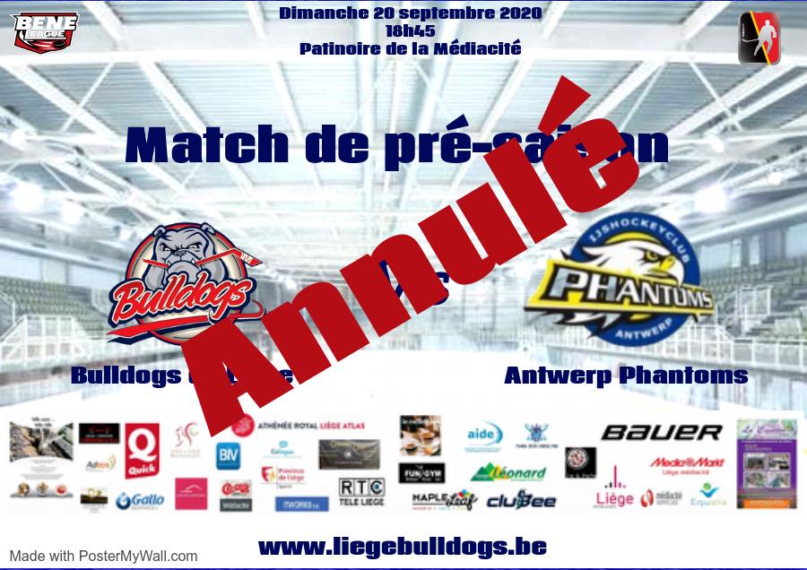 Match contre Deurne le dimanche 20 septembre annulé