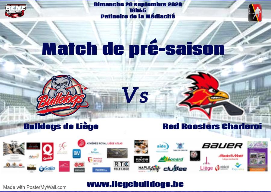 Match de pré-saison dimanche 20 septembre Bulldogs de Liège vs Red Roosters de Charleroi