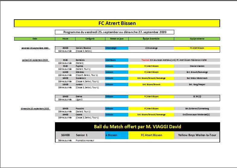 Les matchs du FC Atert Bissen pour le WK du 25-27 septembre 2020