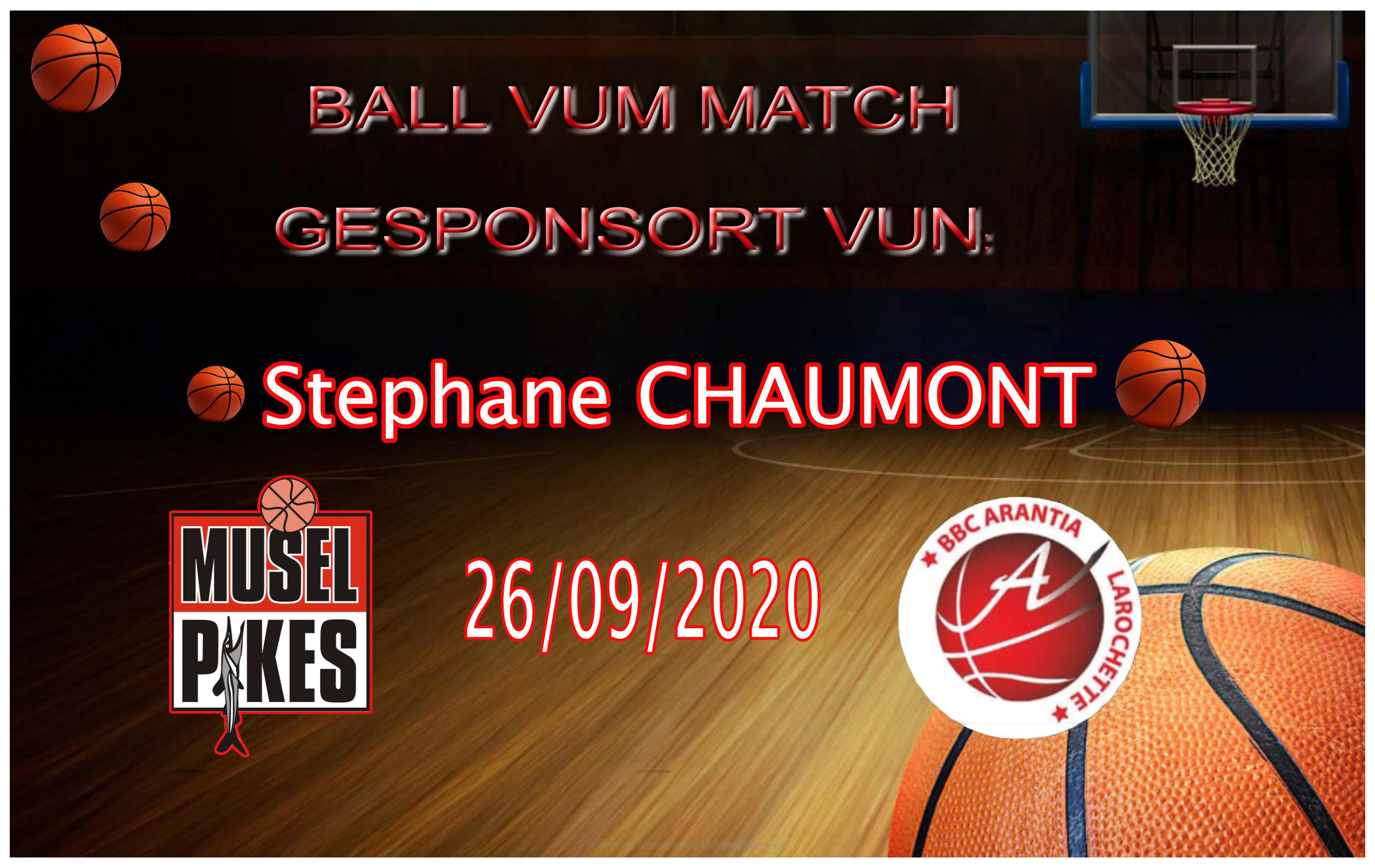 Stephane Chaumont sponsort de Ball vum Match Pikes-Arantia