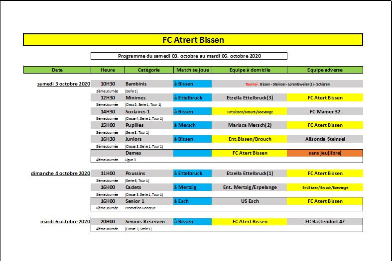 Programme du WK 03-06 octobre 2020