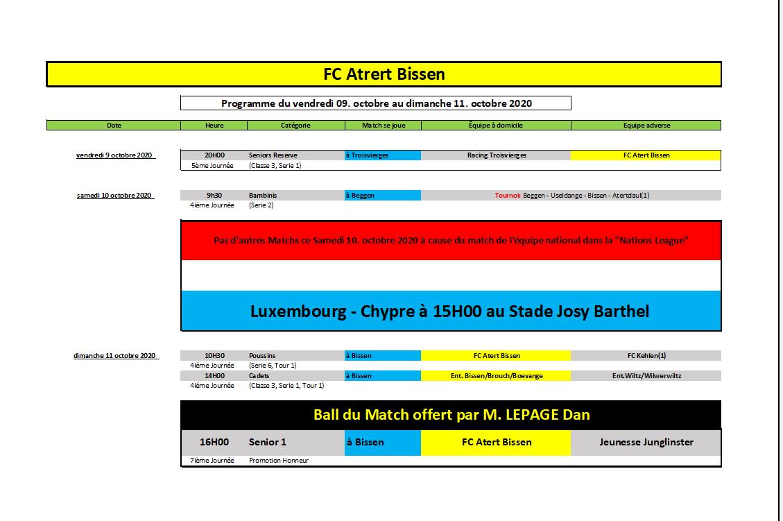 Programme du WK 09-11octobre 2020