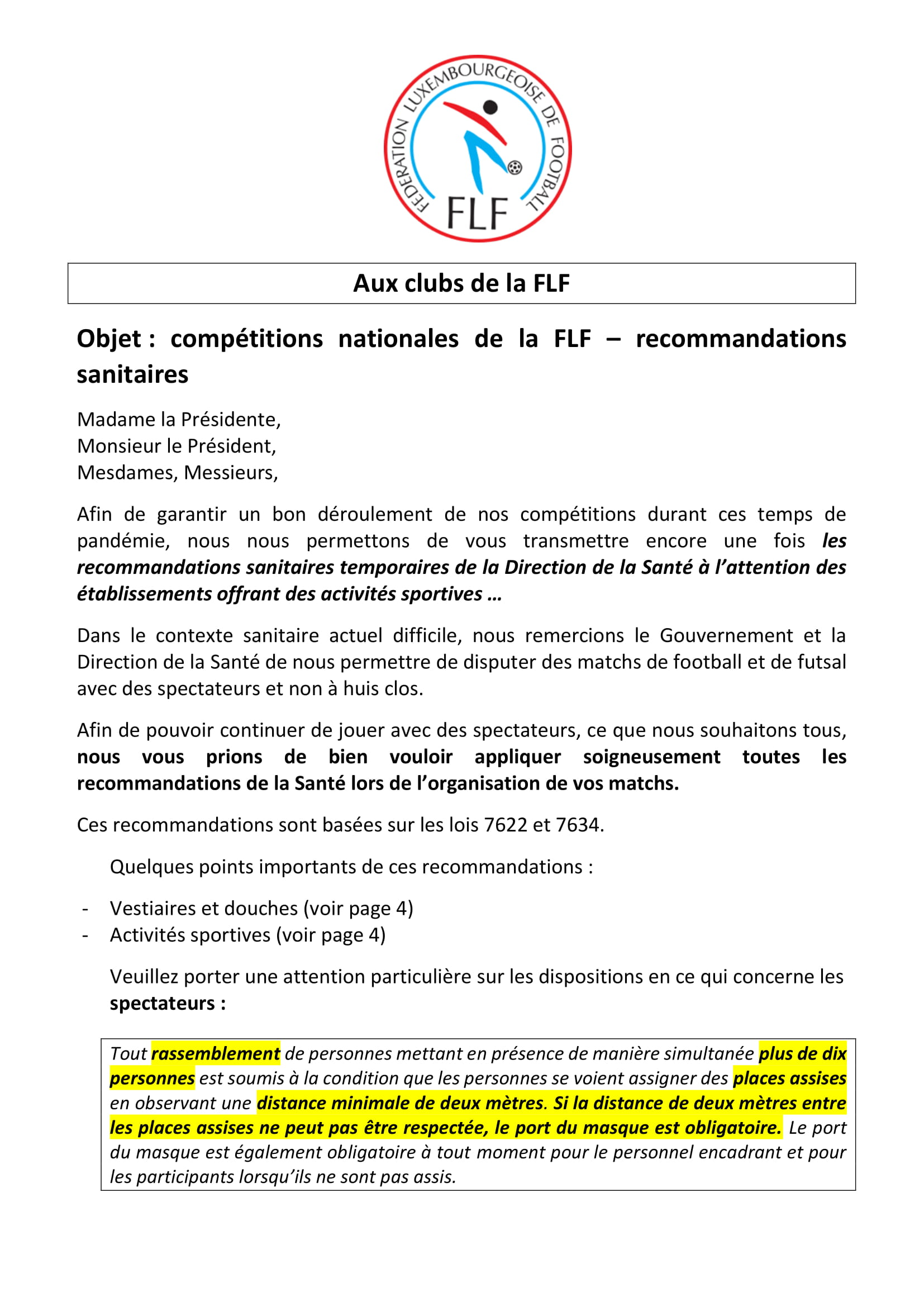 recommandations sanitaires - FLF