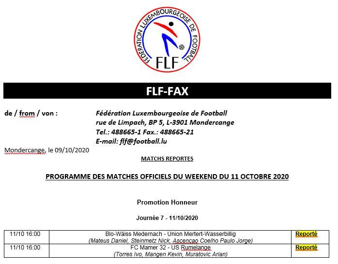 Match de championnat du 11.10.2020 FC Mamer 32 - US Rumelange   REPORTÉ