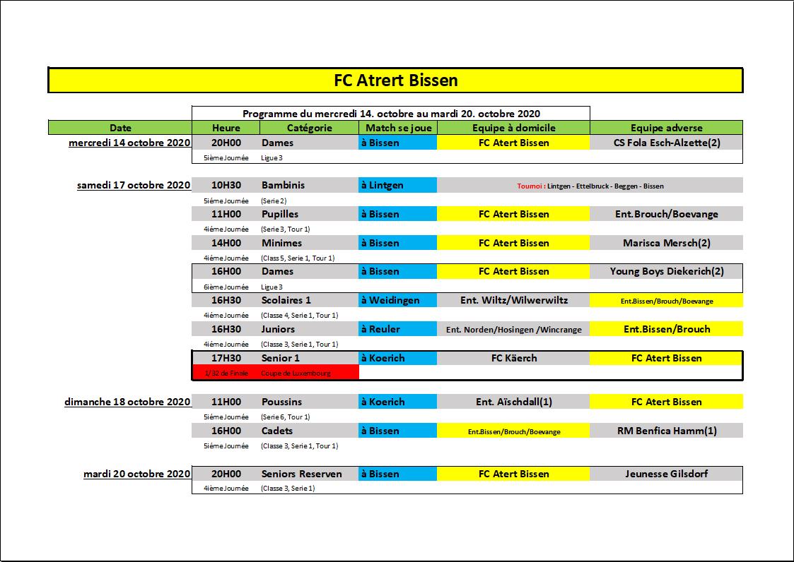 Programme du 14 - 20 Octobre 2020
