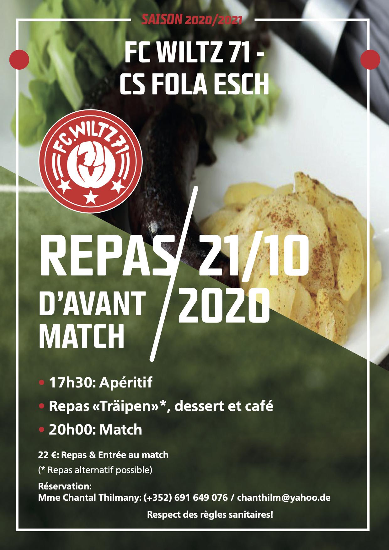 FC WILTZ 71 VS CS FOLA ESCH: REPAS ORGANISÉE
