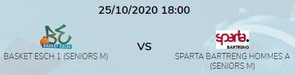 CANCELED: NEXT SENIOR MEN HOME GAME ESCH VS SPARTA (SUNDAY 25/10 AT 18H00)