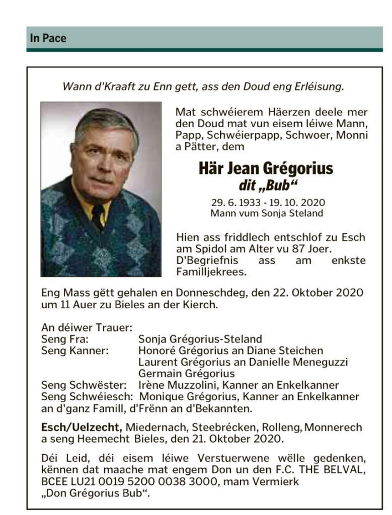 Grégorius Jean - dit Bub (29.06.1933 - 19.10.2020)