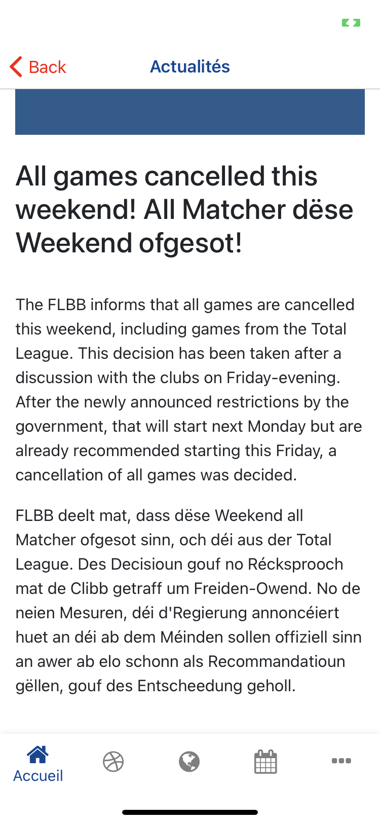 ALL GAMES FOR THIS WEEK-END ARE CANCELED