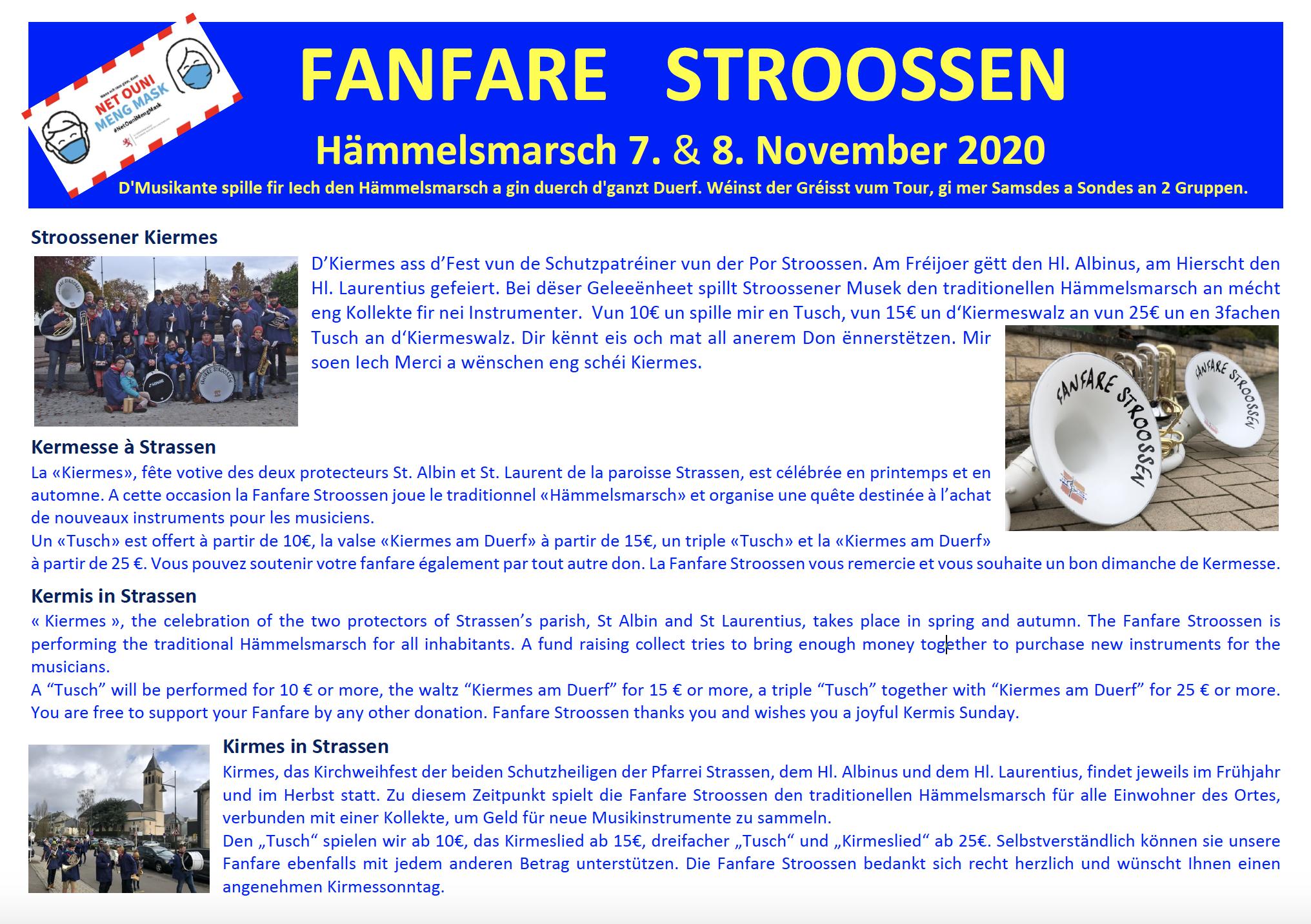 Hämmelsmarsch zu Stroossen 7. & 8. November 2020