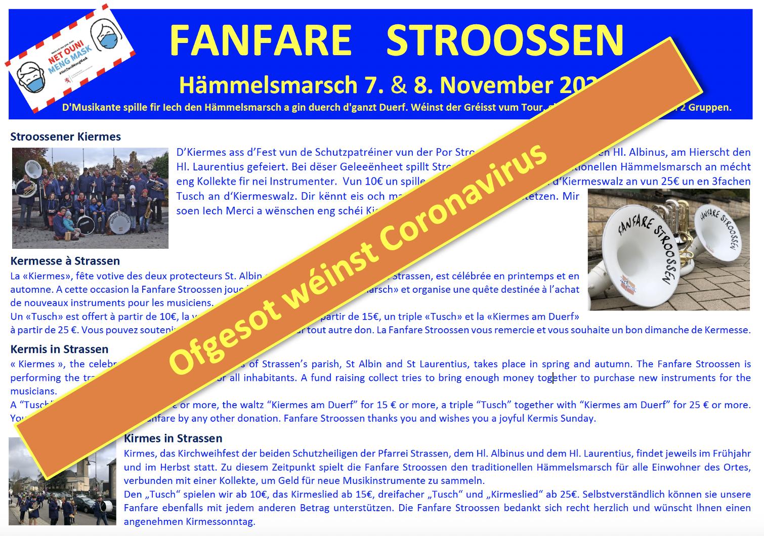 OFGESOT! 7. & 8. November 2020 Hämmelsmarsch zu Stroossen
