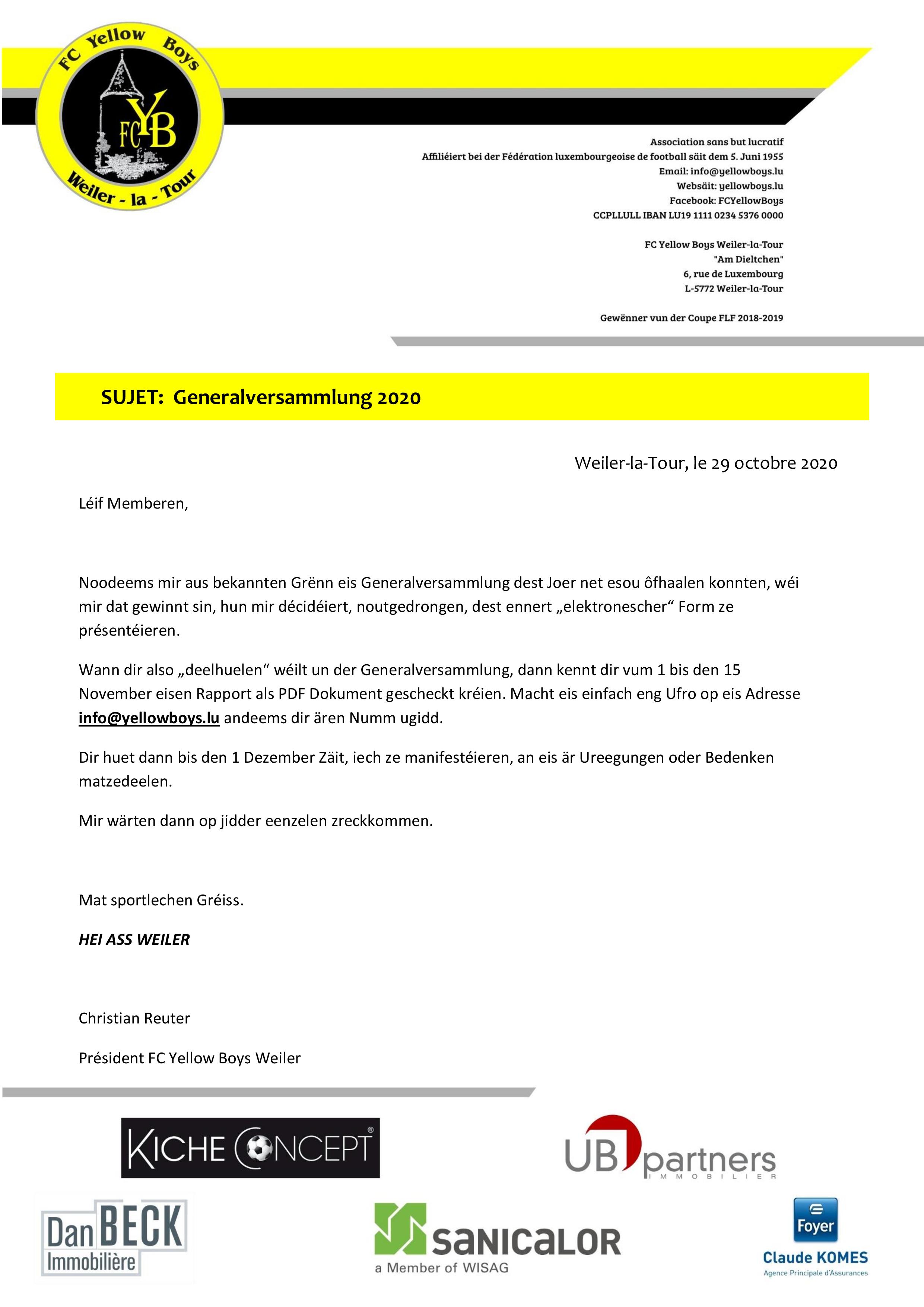 Generalversammlung 2020 LUX