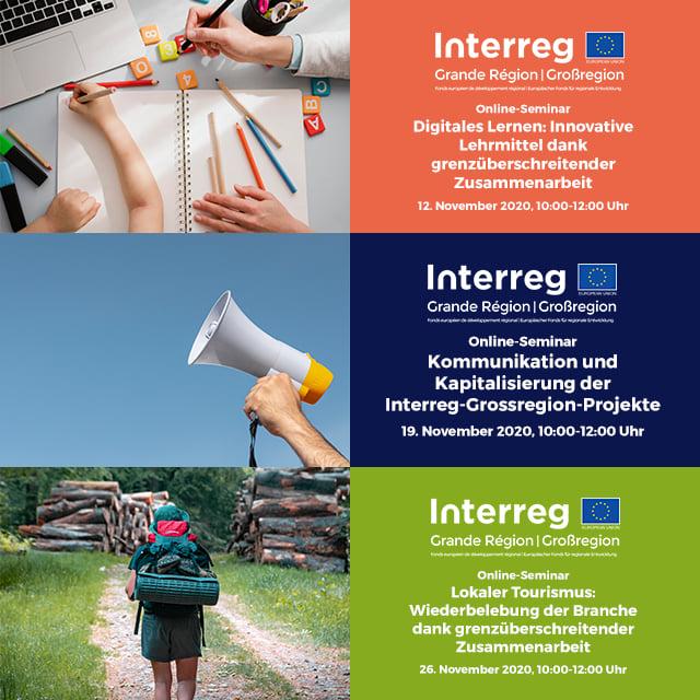 3 wébinaires-Interreg en novembre ! | 3 Interreg-Onlineseminare im November!