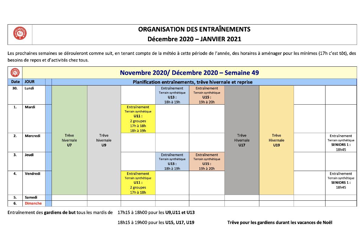 Planning pour les jeunes - Semaine 30.11 - 04.12