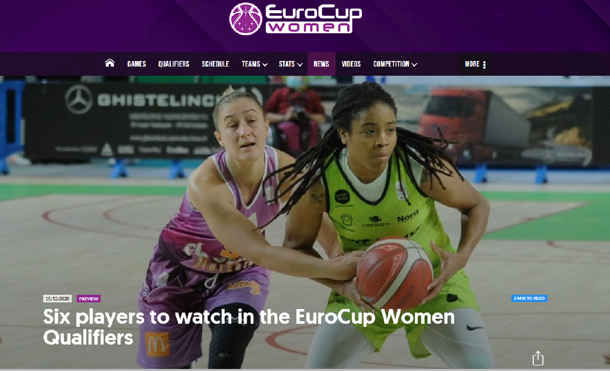 Alex listed as one of six players to watch in the EuroCup women qualifiers