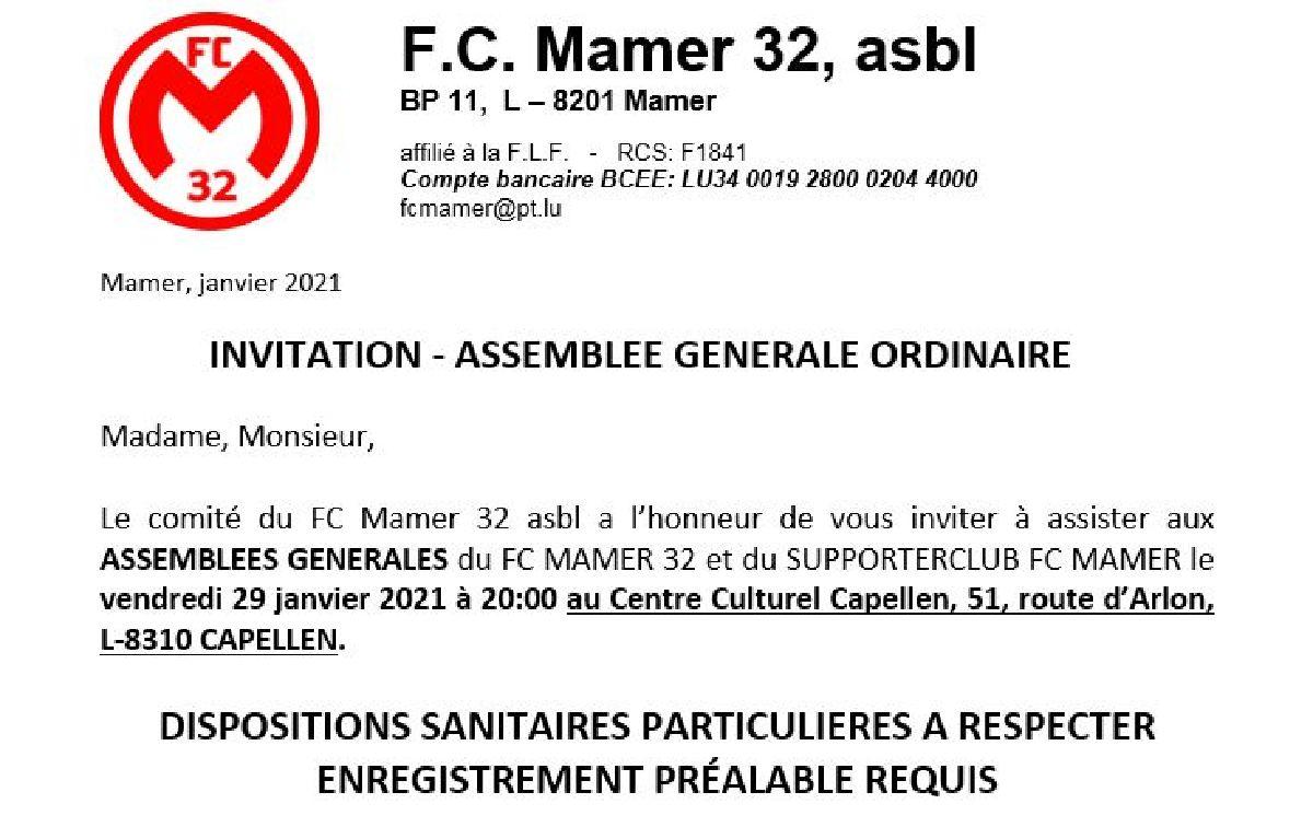 FC Mamer 32: assemblée générale avec dispositions sanitaires particulières