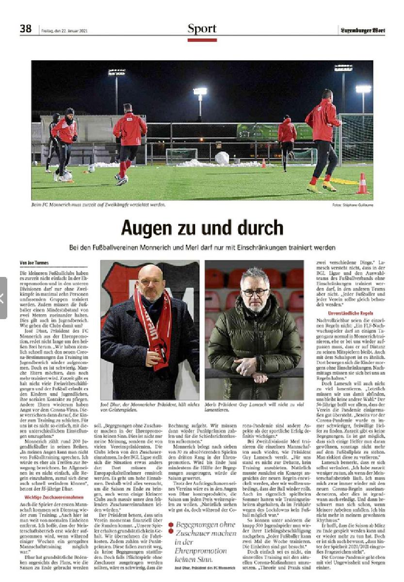 Article Luxemburger Wort du 22 janvier 2021 - interview avec notre président Guy Lamesch