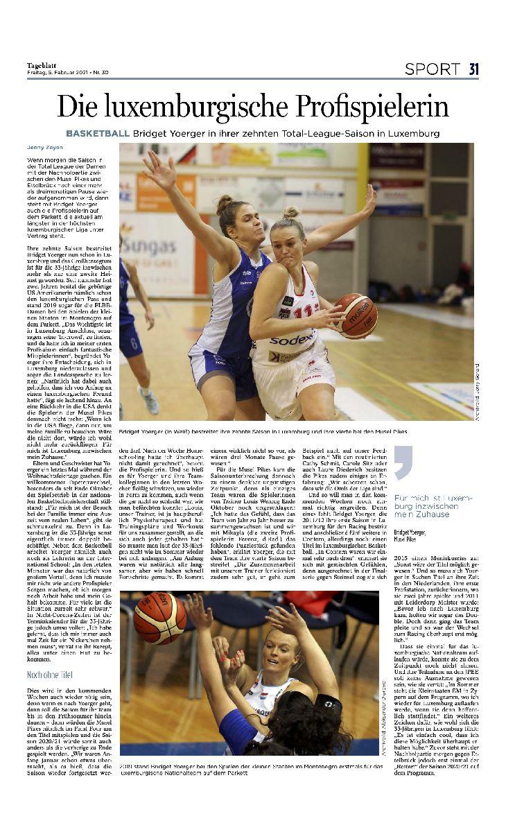 Tageblatt 05.02.2021 nice article about Bridget YOERGER