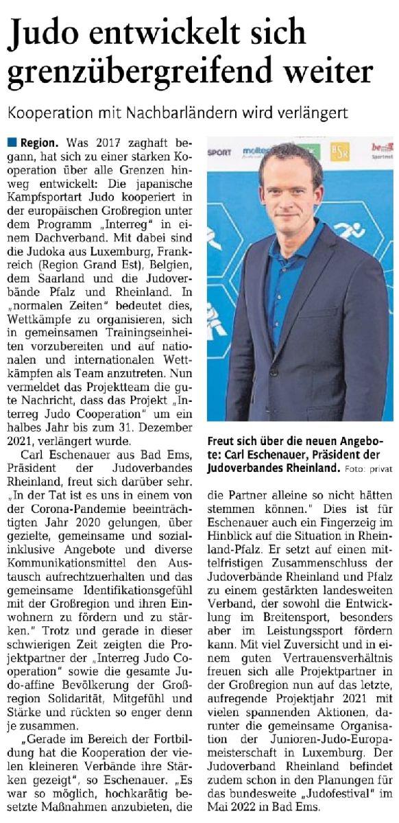 19.02.2021 - Judo entwickelt sich grenzübergreifend weiter (Rhein-Lahn-Zeitung)
