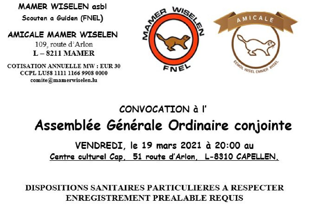 MAMER WISELEN asbl: assemblée générale avec dispositions sanitaires particulières