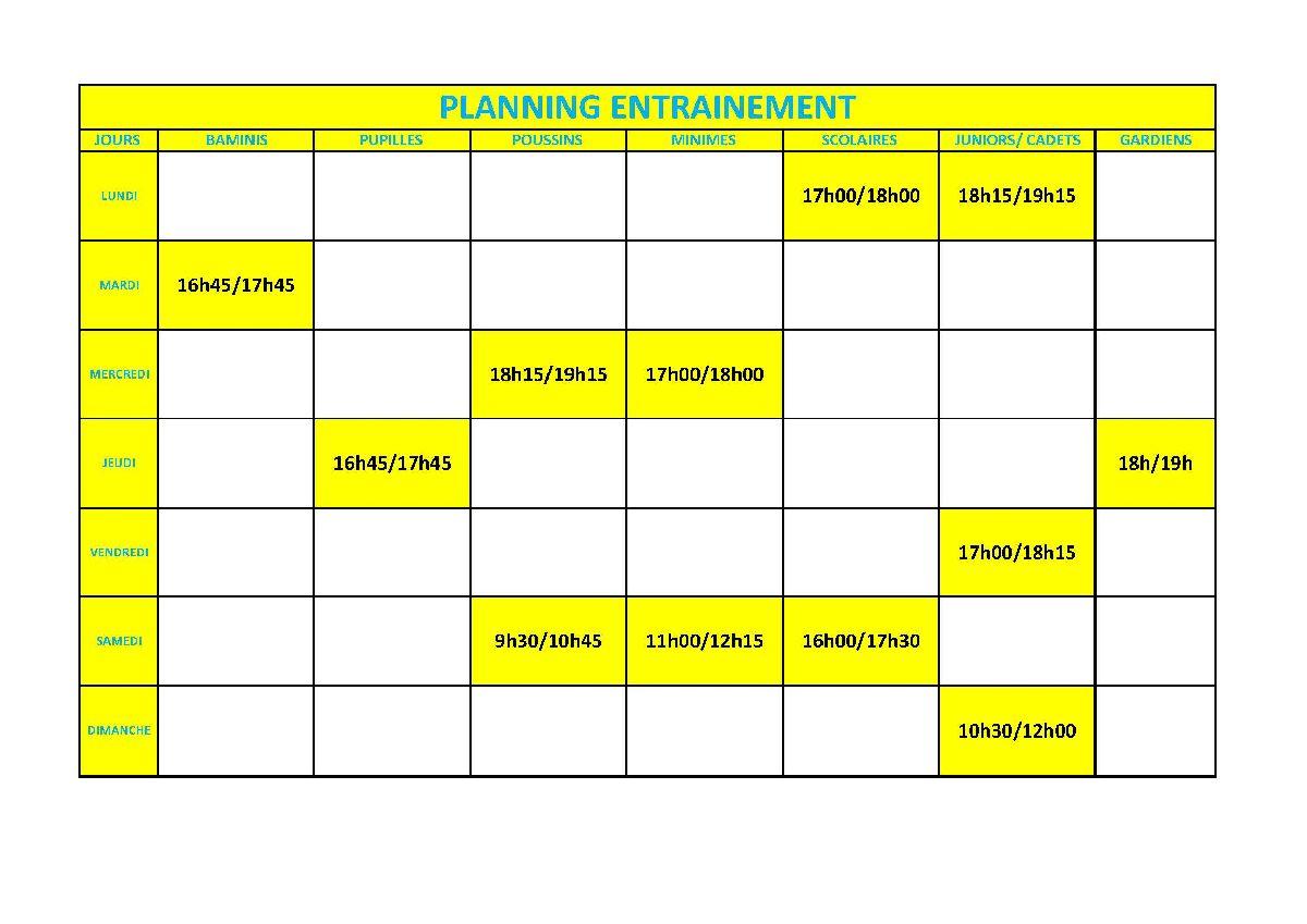 Planning entrainements catégories jeunes (février-mars 2021)