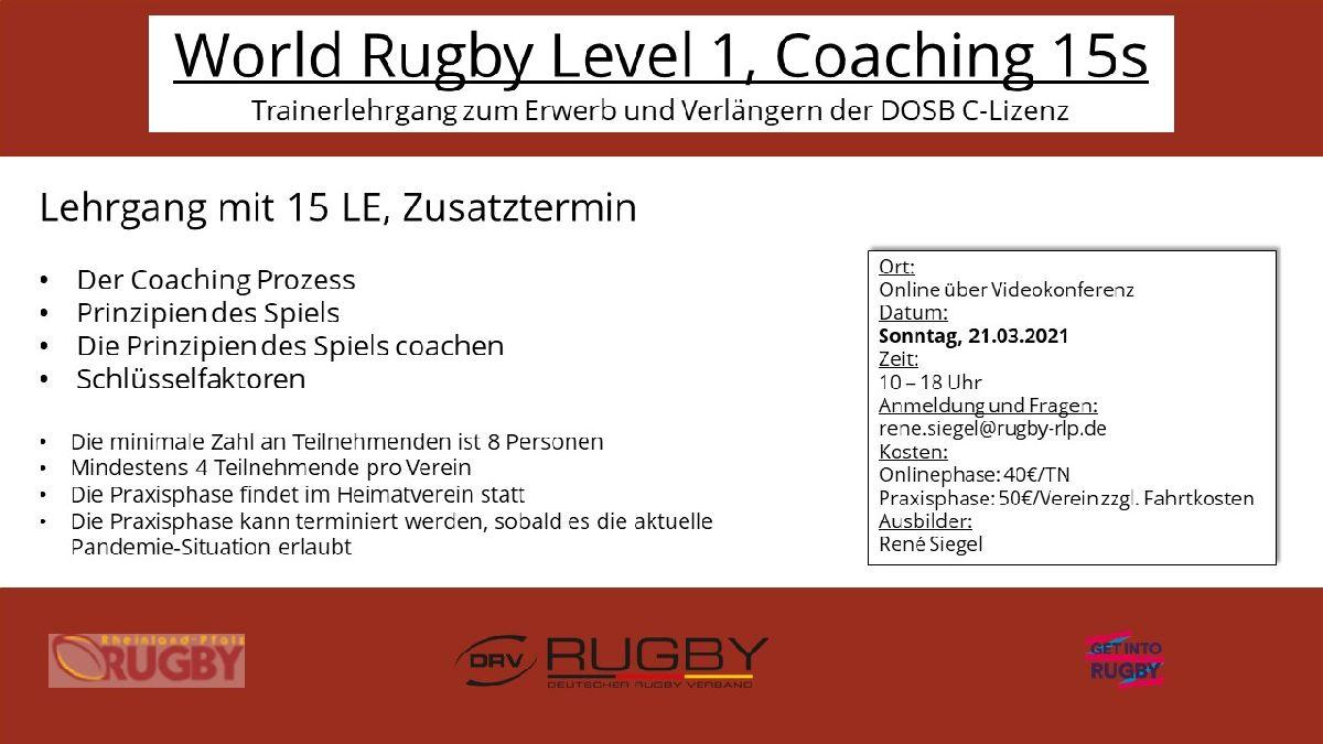 Zusätzlicher Termin für Trainerlehrgang World Rugby Level 1 Coaching 15s