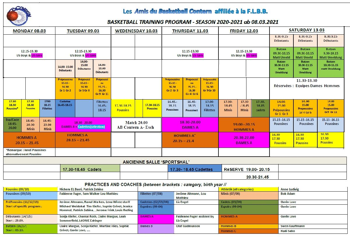 Trainingsplang fir d'Woch vum 8. Mäerz 2021