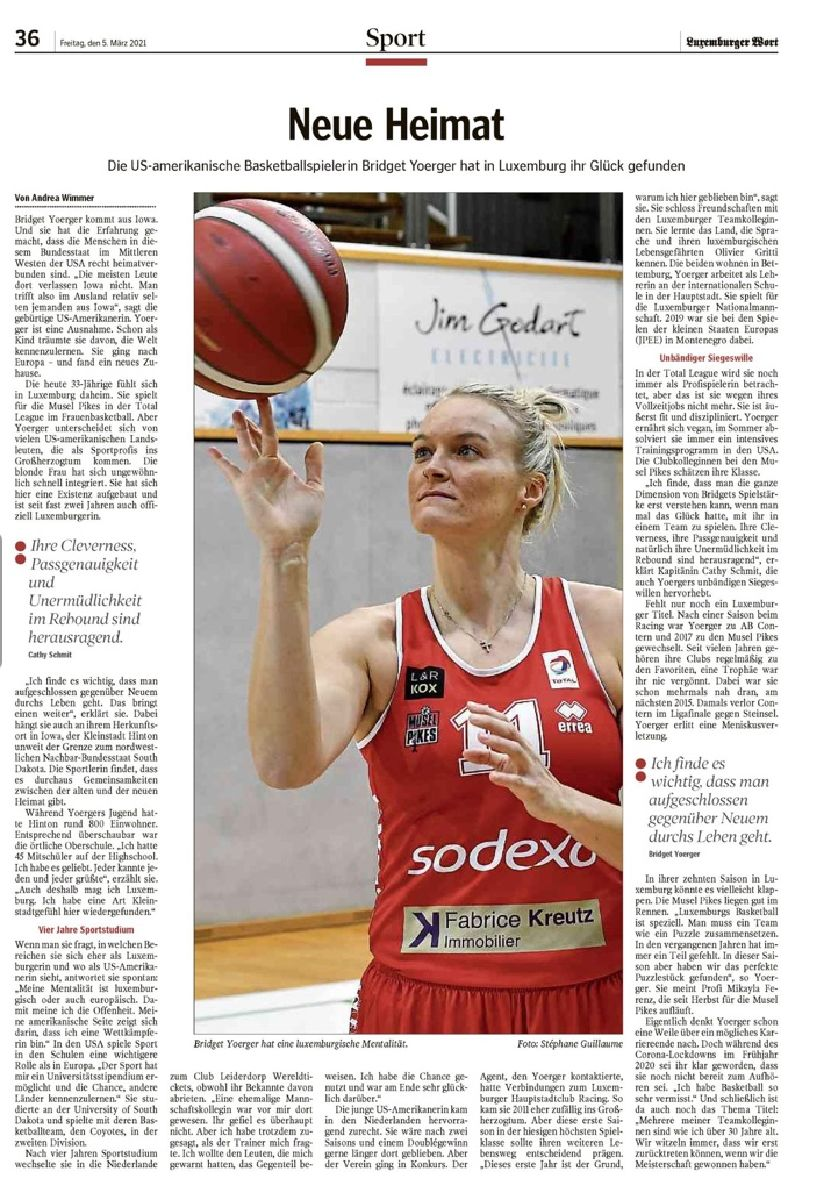 Bridget YOERGER in Luxemburger Wort