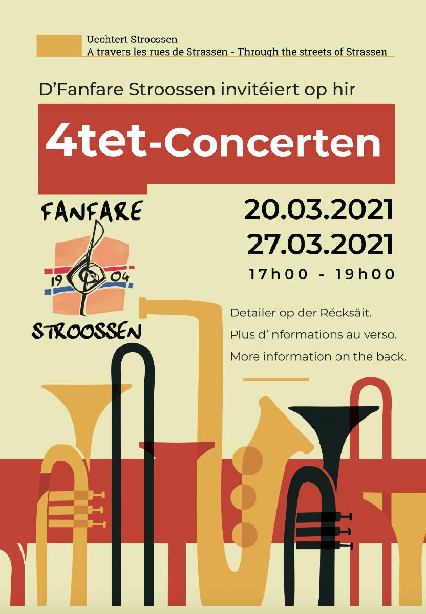 Quartett-Concerten zu Stroossen den 20. an de 27. Mäerz 2021