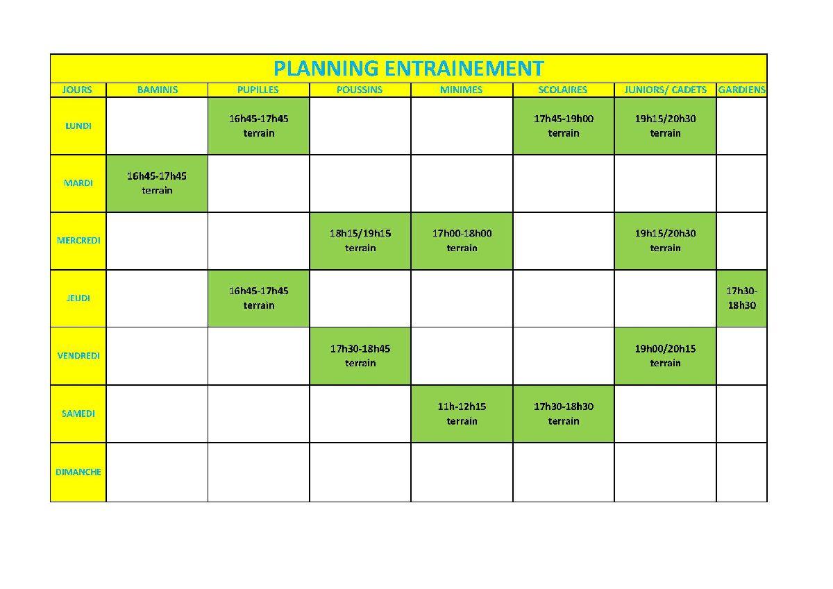 Nouveau plan d'entraînement pour les jeunes à partir du 15.03.2021