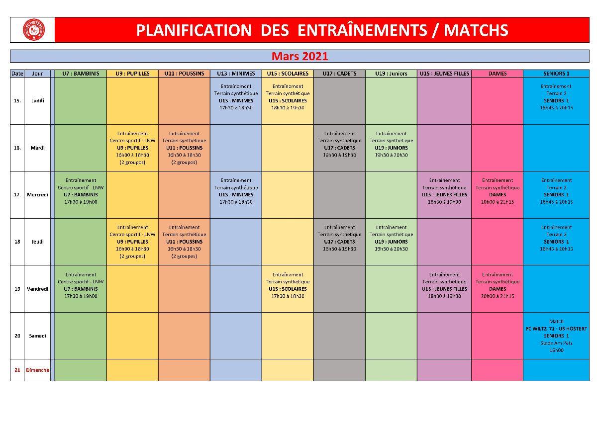 Planification des entraînements / matchs du 15.03 au 21.03