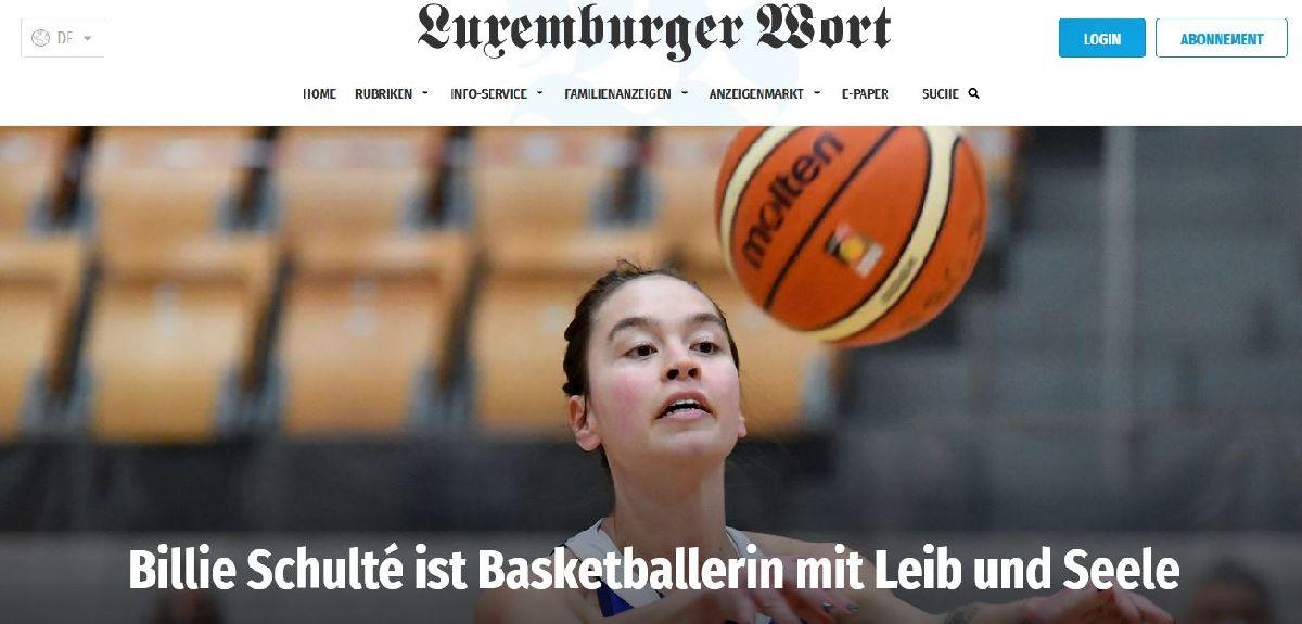 Luxemburger Wort 16/03/2021: Billie Schulté ist Basketballspillerin mit Leib und Seele