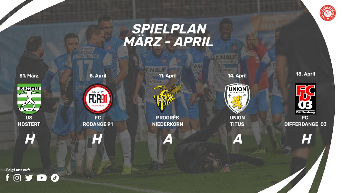 Spielplan März - April 2021