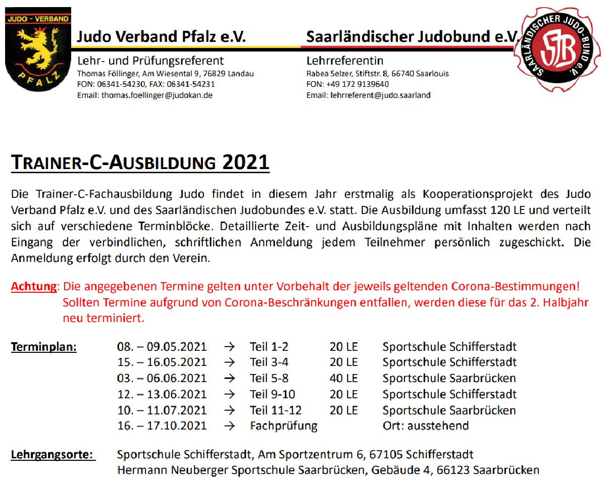 Judo-Trainer-C-Ausbildung: Anmeldefrist bis 09.04.2021 verlängert