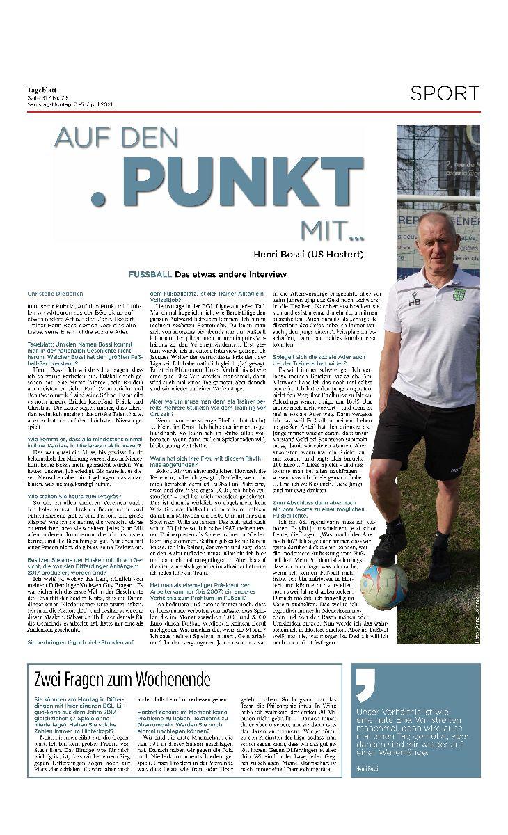 Interview mam Henri Bossi am Tagblatt