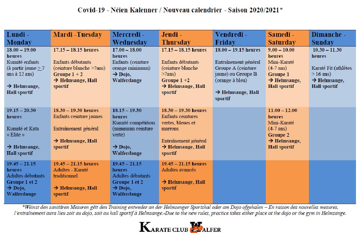 Update - Trainingsplang - horaires - planning
