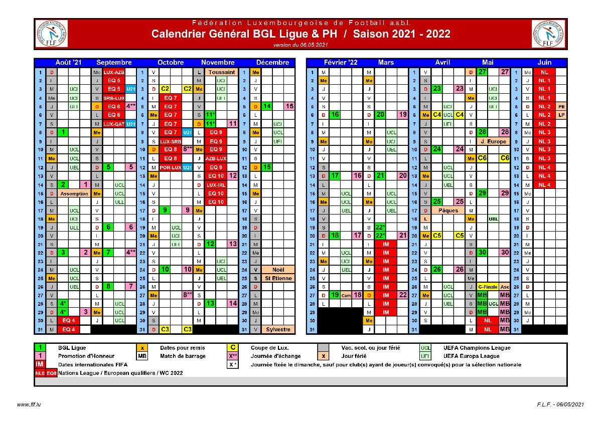 calendrier général BGL / PH saison 2021 - 2022
