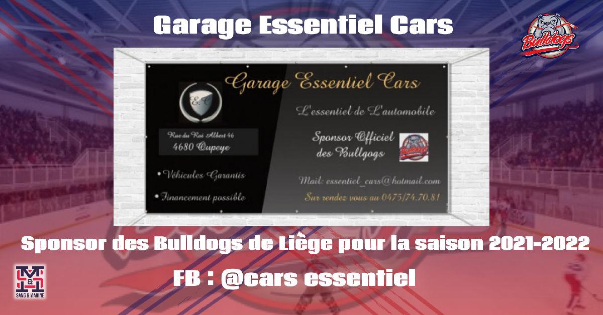 Le garage ESSENTIEL CARS sera encore sponsors des Bulldogs de Liège pour la saison 2021-2022