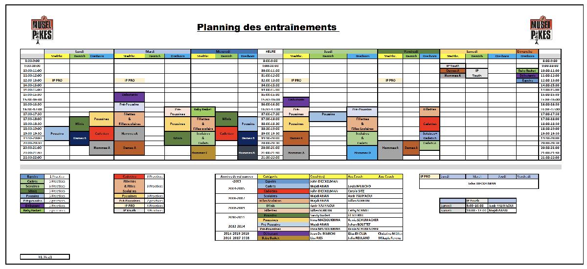 Planning des entraînements - practice schedule 2021-2022