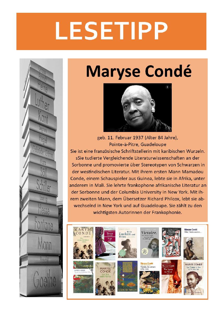Lesetipp 21-05 - Maryse Condé