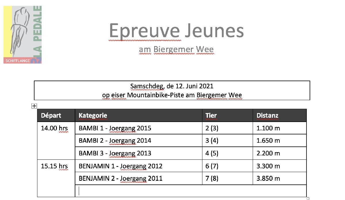 Epreuve Jeunes vum 12.06.2021