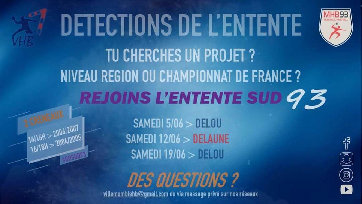 DETECTIONS DE L'ENTENTE SUD 93