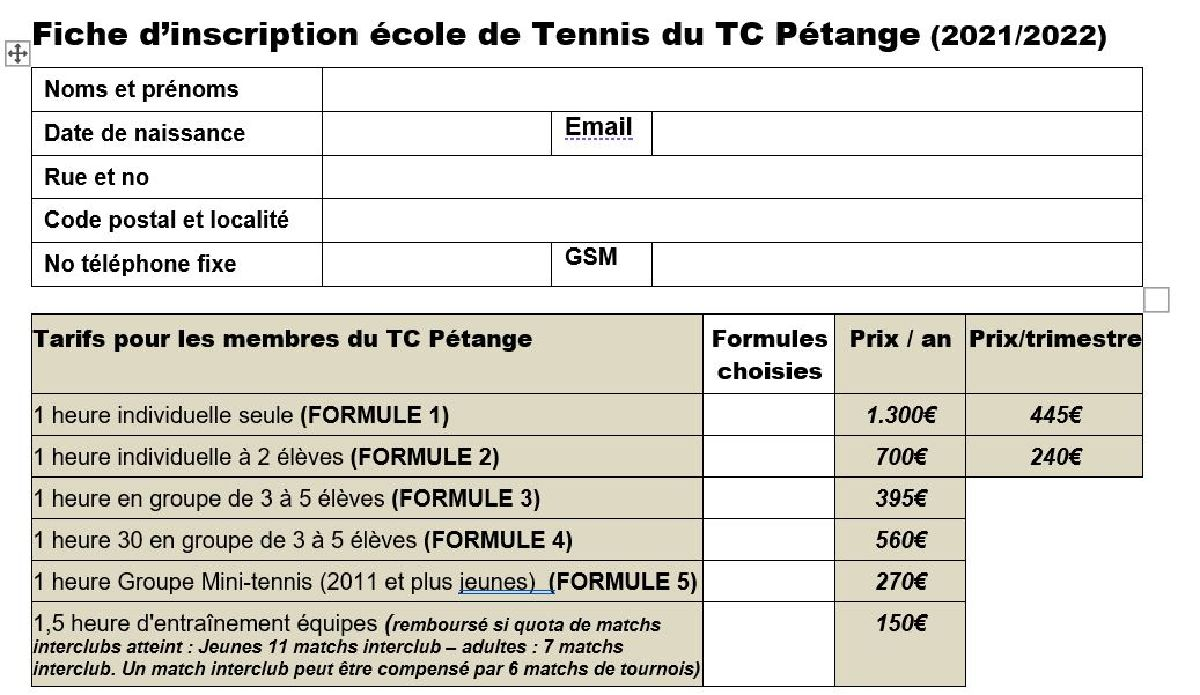 Inscriptions : Ecoles de tennis 2021/2022