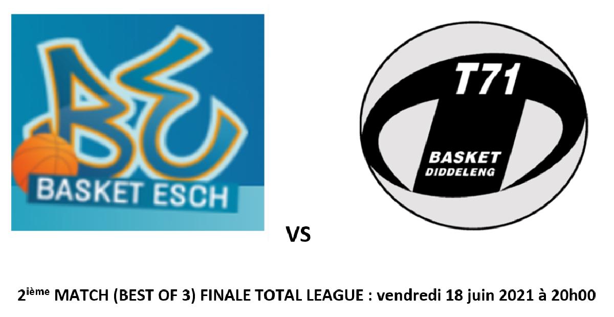 FINALE BASKET ESCH VS T71: VENDREDI 18 JUIN A 20H15