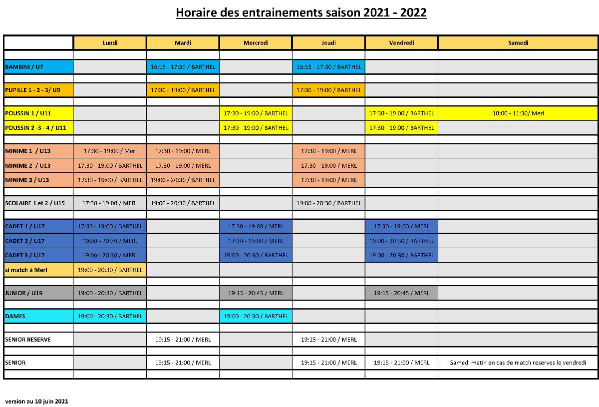 Horaire des entrainements saison 2021 - 2022